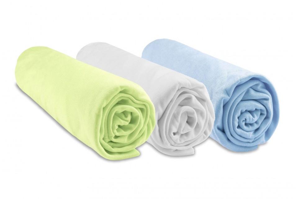 Lot de 3 draps housses Bambou pour Couffin 32x72 - anis blanc ciel