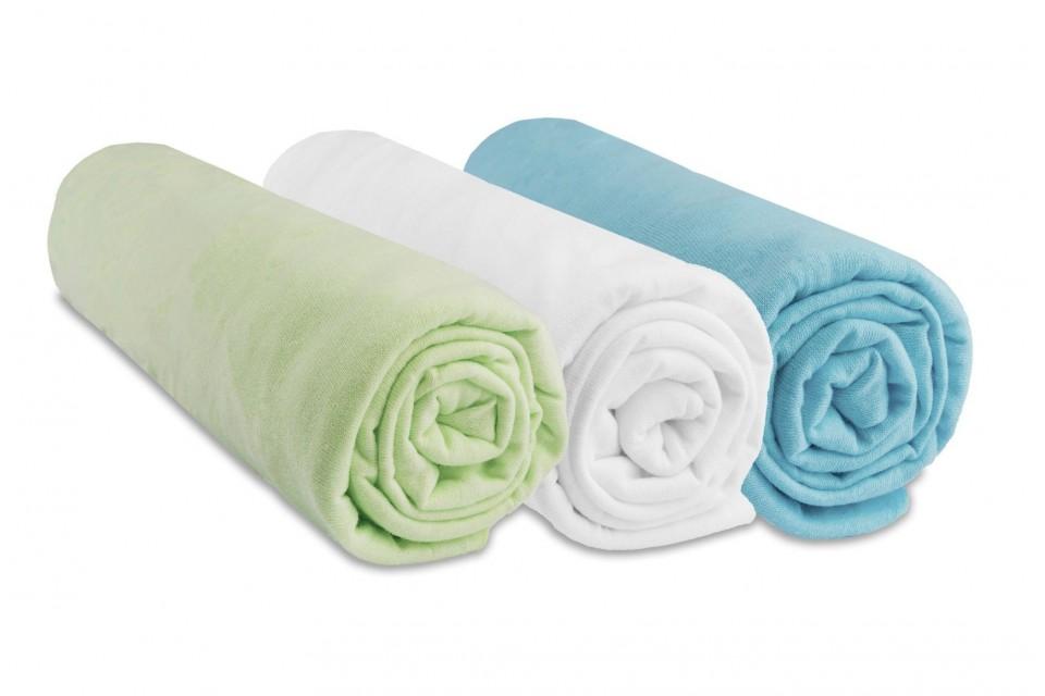 Lot de 3 draps housse jersey coton anis blanc turquoise 70x140