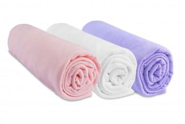 Lot de 3 draps housse jersey coton coloris fille anis blanc parme 60x120