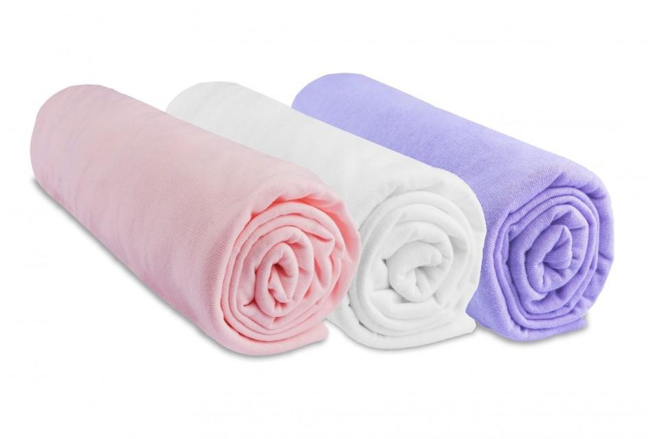 Lot de 3 draps housse jersey coton coloris fille rose blanc parme 70x140