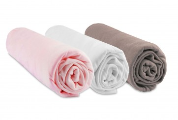Lot de 3 Draps housse Bambou - 40x80 / 40x90 - rose blanc taupe