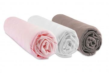 Drap housse 70x140 Bébé Bambou Rose Blanc Taupe (Lot de 3)