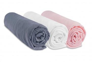 Lot de 3 draps housse jersey coton coloris fille - blanc rose et gris 60x120