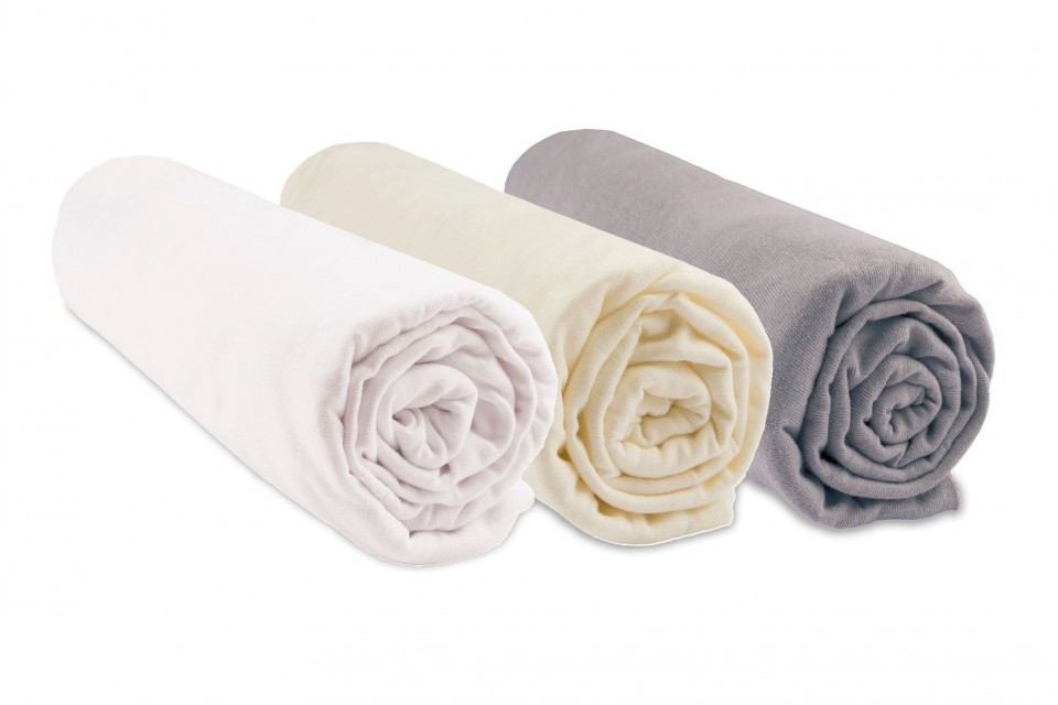 Lot de 3 draps housse Coton Bio - 70x140 - Noisette blanc écru