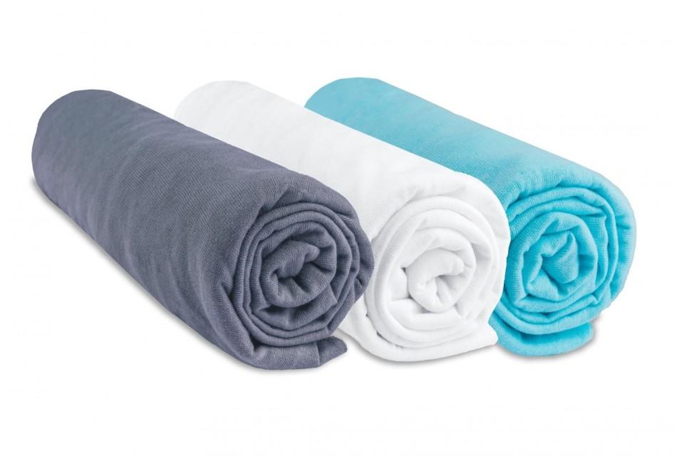 Lot de 3 draps housse jersey coton coloris garçon - gris blanc turquoise 40x80 40x90
