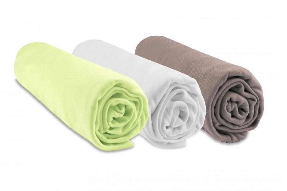 Lot de 3 draps housses Bambou pour Couffin 32x72 - anis blanc taupe